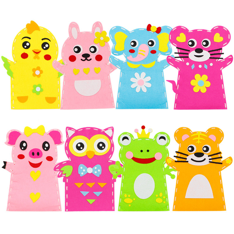 Children's Cloth Animal Hand Puppets Toys Non-woven Handmade DIY Material Package Creative Cartoon Sewing Stickers
