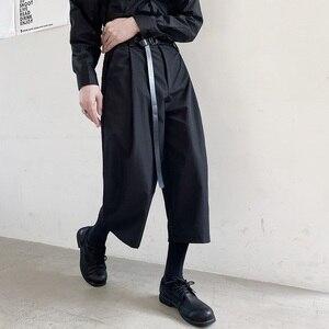 Karajuku/уличная одежда в стиле ретро; Модный повседневный костюм до середины икры; Брюки с широкими штанинами и поясом; Японские мужские черные...