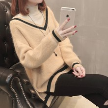 2019 Suit-dress Sweater Long Sleeve Knitting Unlined Upper Garment Woman Easy Half Choker Student Pullover