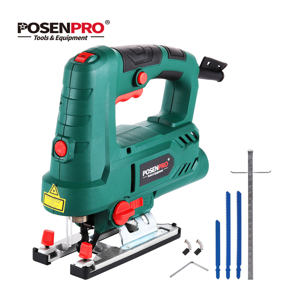 POSENPRO 800W Laser Jig Saw Variable Speed Multifunctional Jigsaw Electric Wood Saw Metal Ruler 3pcs Saw Blades for Woodworking