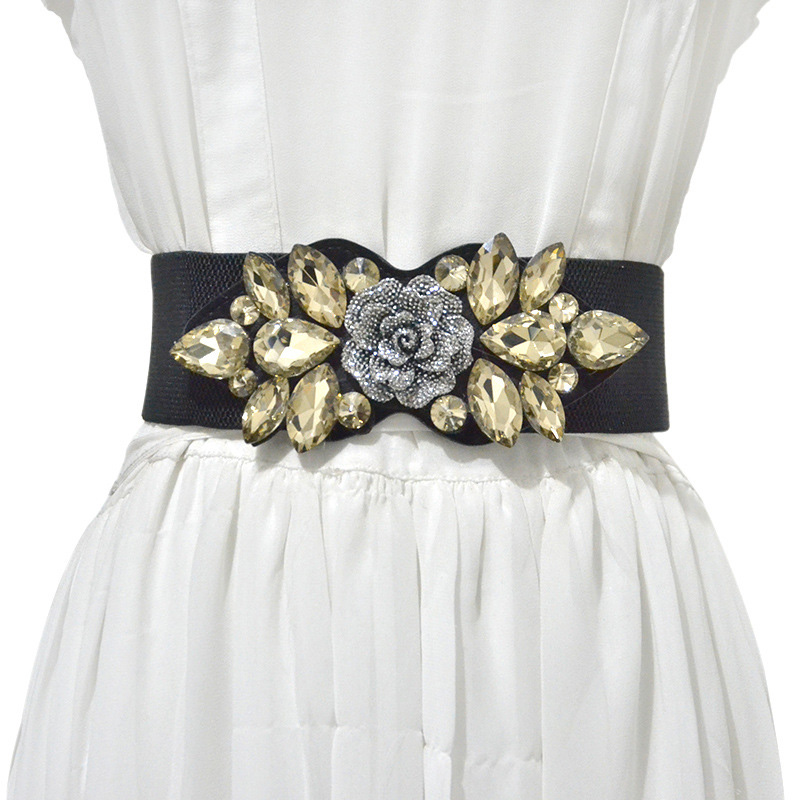 Fashion Wide Belt Diamond Flower Womens Belt Rhinestones Elastic Waistband Girdle Cummerbund Wide Stretch Buckle Dress Belt C80