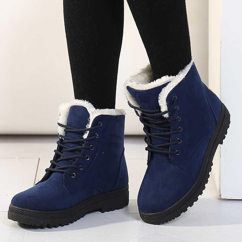 Giày Bốt nữ Mùa Đông Cổ Chân Giày Cho Nữ Mùa Đông Giày Nữ Ủng Botas Mujer Ấm Sang Trọng Giày Người Phụ Nữ Plus Kích Thước 44
