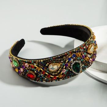 Europe Women Colorful Full Crystal Rhinestone Hairband Luxury Headbands for Wide Hair Hoop Bezel Accessories Jewelry