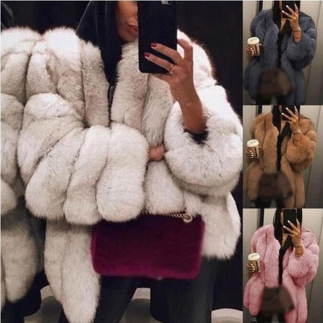Plus Size Women Fur Coat Winter Warm Plush Coat Luxury Soft Fur Jacket Coat