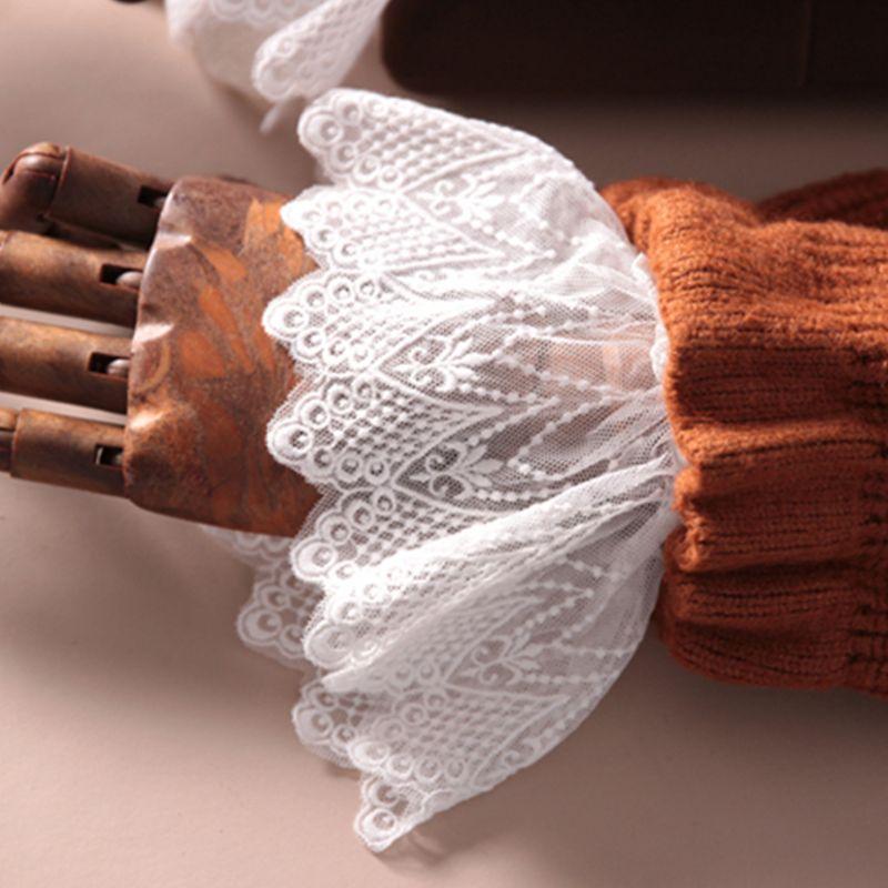 Women Lotus Leaf Fake Sleeve Floral Lace Pleated Ruffles Horn Cuffs Wrist Warmer 449F
