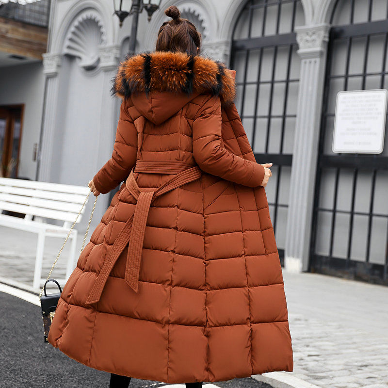 2019 New Long Knee-high Cotton-padded Jacket Female Korean Slim Slim Cotton Winter Coat With Heavy Wool Collar Padded Cotton