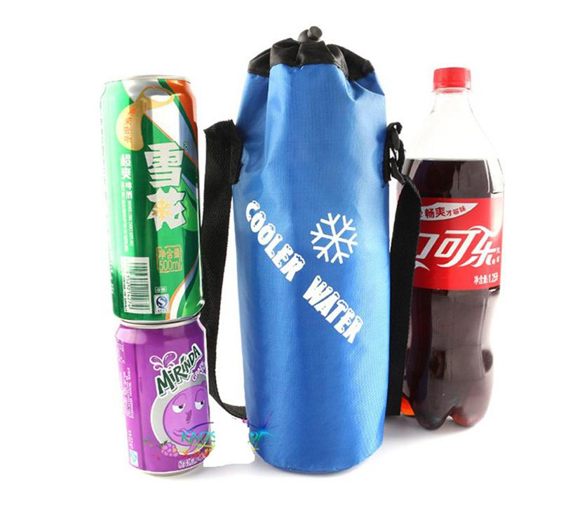 Universal Drawstring Water Bottle Pouch High Capacity Insulated Cooler Outdoor