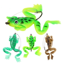 1pcs Frog Fishing Lure 6cm 5.2g Rubber Soft Bait 3 Colors Worm Plastic Fish with Hook Artificial Tackle QW008