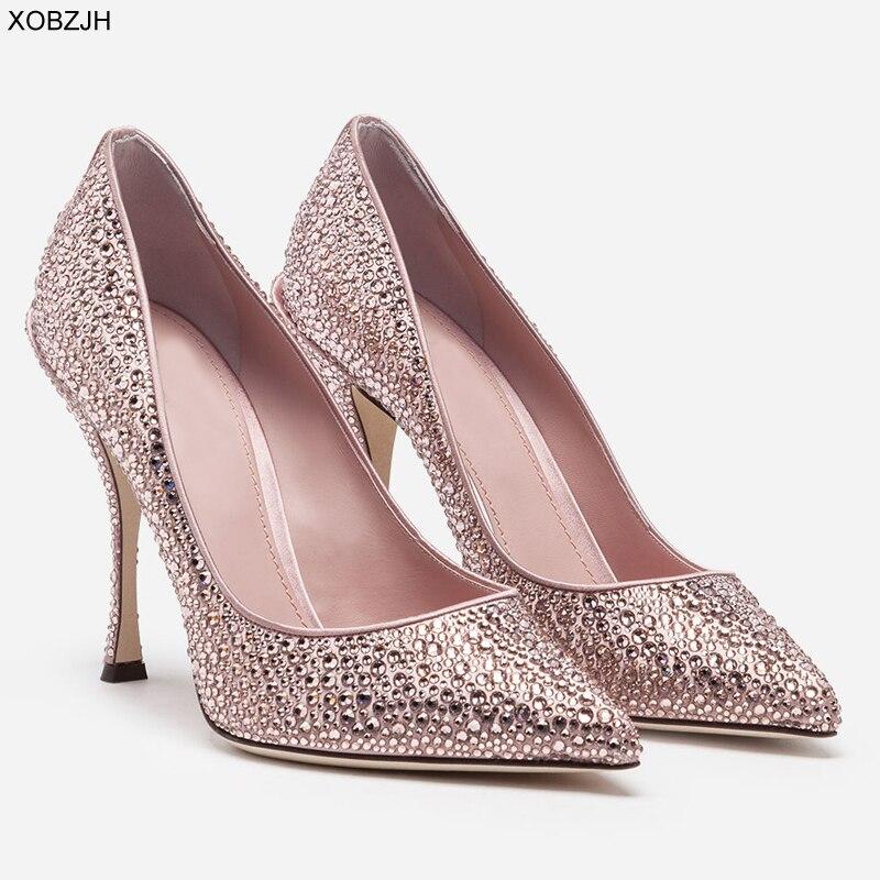Italian Wedding Pink Shoes Women Pumps 2019 Luxury Brand Designer High Heels Ladies Rhinestone Party Shoes Woman Plus Size 43