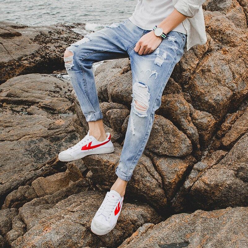 With Holes Capri Jeans Men Popular Brand Slim Fit Pants Loose-Fit Beggar Pants Men's Korean-style Trend Summer Thin Section