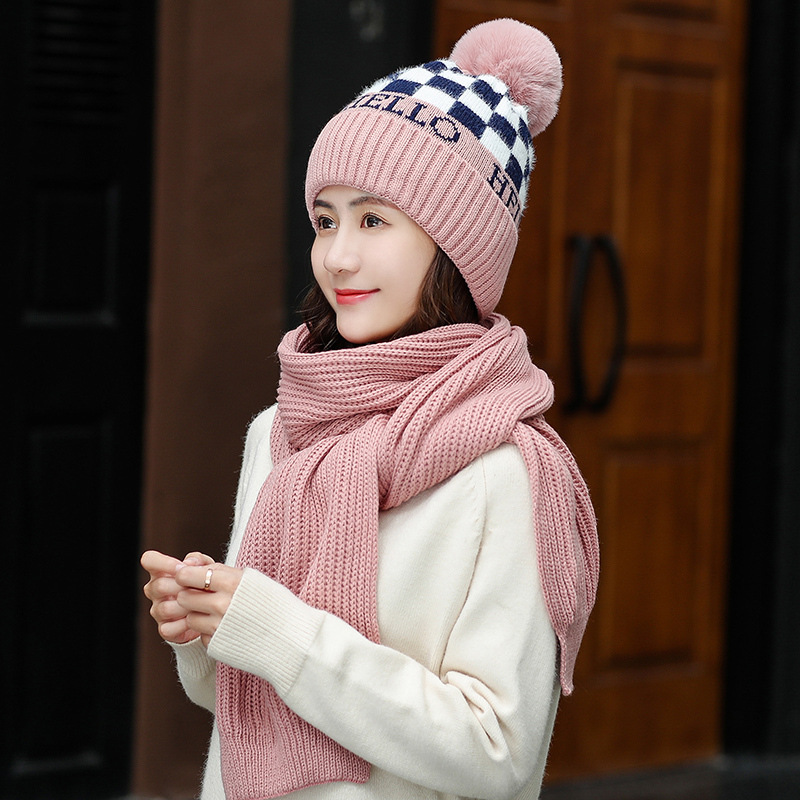 Fashion Winter Hat And Scarf Set For Women Classic Thick Wool Kitted PomPoms Ball Hats Scarves Winter Warm Bonnet Beanie Caps
