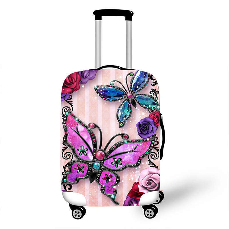 Travel Accessories Creative Butterfly Luggage Case Protective Cover Thicken Elastic Waterproof Suitcase Case Apply 18-32 Inch XL