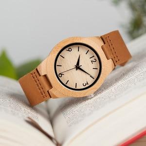 Image 2 - בובו ציפור בעבודת יד במבוק גבירותיי עץ שעון עם עור אמיתי часы женские זוג שעון האהבה יום הווה парные часы