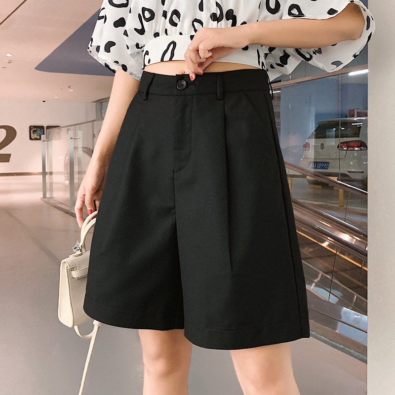 Women Suit Shorts Summer 2020 New High Waist Wide Leg Short Korean Straight Loose Short Girls Plus Size Fashion Bermuda Trouser