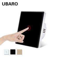 UBARO EU/UK standardowe luksusowe szkło kryształowe panelowe oświetlenie ścienne przełącznik dotykowy wrażliwy przerywacz Ac100-240v przycisk przełączniki domowe