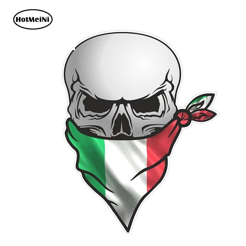 HotMeiNi Gothic Biker Pirate Skull With Face Bandana Italy Italian Il Tricolore Flag Motif External Vinyl Car Stickers