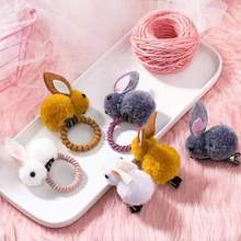 Hair-Clip Hairbands Korean-Style Rubber Girls Plush Rabbit Children's Cute Baby Cartoon