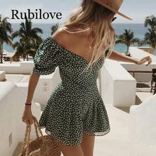 Rubilove Summer dress 2019 boho korean off shoulder  beach elegant kawaii green vintage floral sexy v neck mini vest