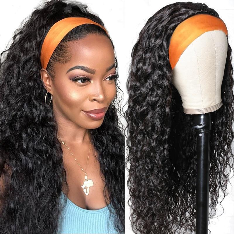 Волосы Unice, 100% человеческие волосы, повязка на голову, манекен для шарфа парика, водная волна, человеческие волосы, парик, без выщипывания, па...