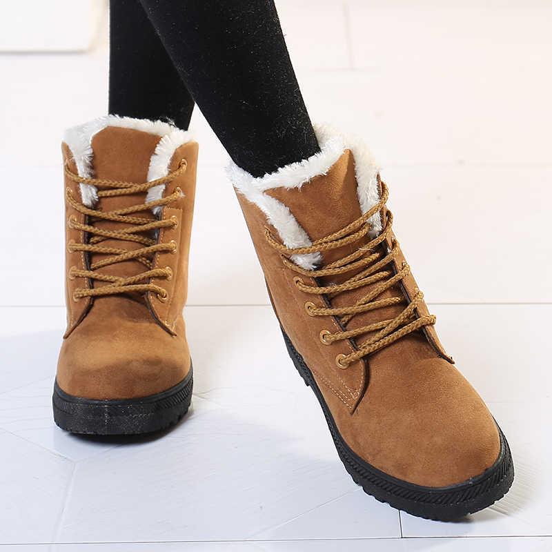 Kadın Kar Botları Kadın Botları 2019 Kadın Kış Botları sıcak Kürk Kış Ayak Bileği çizmeler kadın ayakkabıları dantel-up kadın ayakkabısı