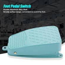 TFS-2 Nonslip Aluminum Alloy Shell Electric Momentary Electric Power Reset Foot Pedal Switch AC 250V 10A SPDT 1pcs tfs 302 foot switch metal foot pedal switch 15a 250v ac green colour aluminium alloy