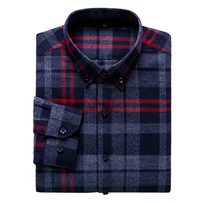 High Quality Hot Sell Plus Size 5XL 6XL 7XL Pure Cotton Plaid Casual Formal Long Sleeve <font><b>Wool</b></font> <font><b>Shirt</b></font> <font><b>Men</b></font> Thick Soft Young Fashion image