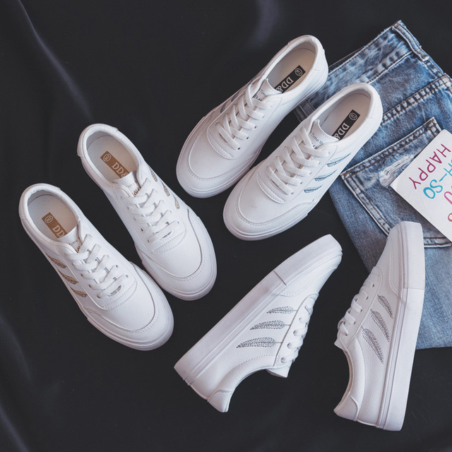 Shoes Woman New Fashion Casual High Platform PU Leather Women Casual White Platform Shoes Breathable Sneakers Womens Shoes
