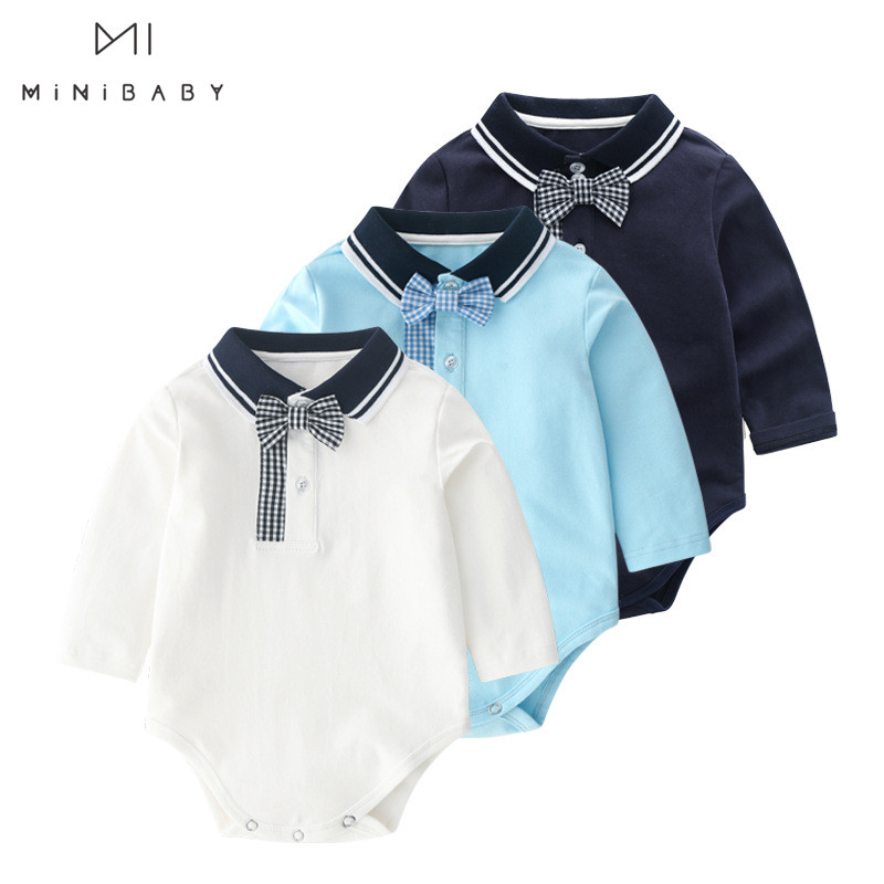 Spring And Autumn New Baby Boys Long Sleeve Pure Color Rompers Newborn Baby Clothes Boy Cotton Soft Jumpsuit Outfit For 0-24m