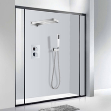 3 ways LED Light Thermostatic Shower Mixer Tap Rainfall Shower Faucet Set Bathroom Water Saving Shower System Top Hand Shower hpb brass wall mounted bathroom shower system faucet rainfall shower faucets with hand showers chrome polished mixer tap hp2211a