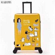 """KLQDZMS 2"""" 24"""" 2"""" дюймов, модный чемодан на колесиках с мультяшным принтом, унисекс, чемодан на колесиках, дорожные сумки на колесиках"""