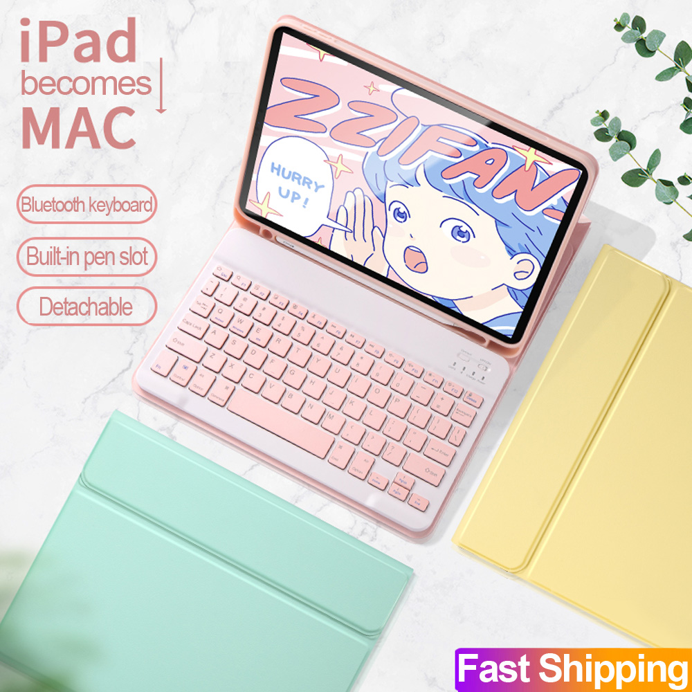 For IPad Pro 11 2020 2018 2th Generation Bluetooth Keyboard Mouse Case For NEW IPad Pro 12.9 4th Candy Color Smart Leather Cover