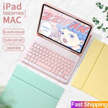 Pour iPad Pro 11 2020 2018 2th génération Bluetooth clavier souris étui pour nouvel iPad Pro 12.9 4th couleur bonbon Smart cuir couverture