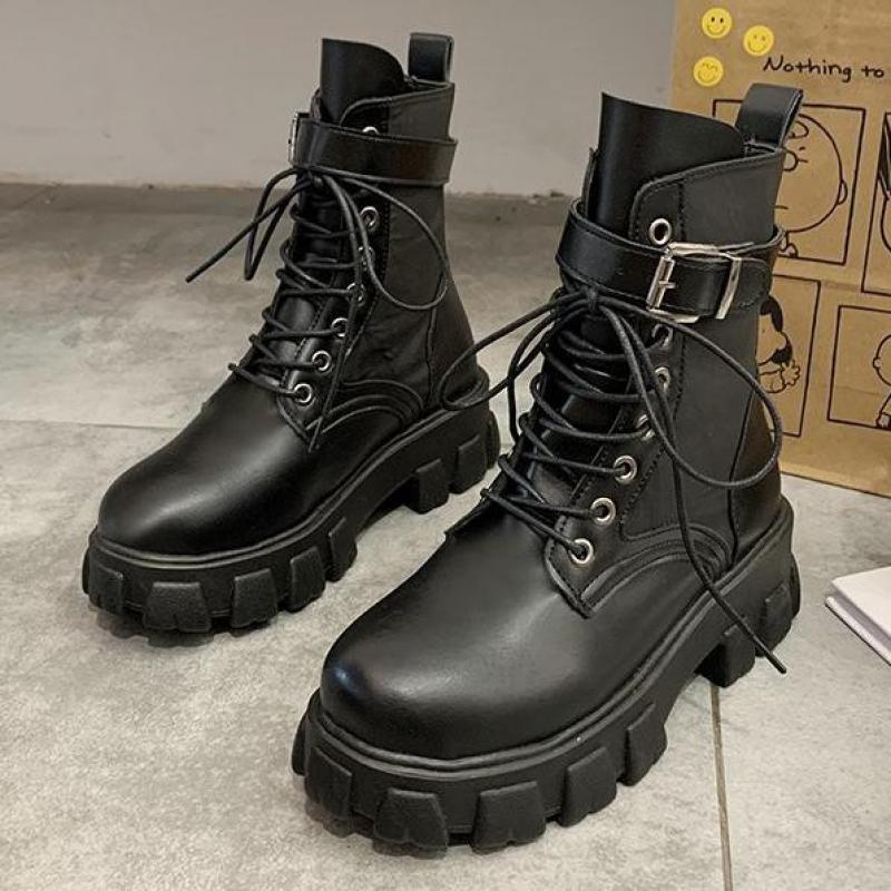 2020 preto plataforma de combate tornozelo botas para as mulheres rendas até fivela cinta mulher sapatos inverno botas motociclista tamanho grande|Botas torn.|   -