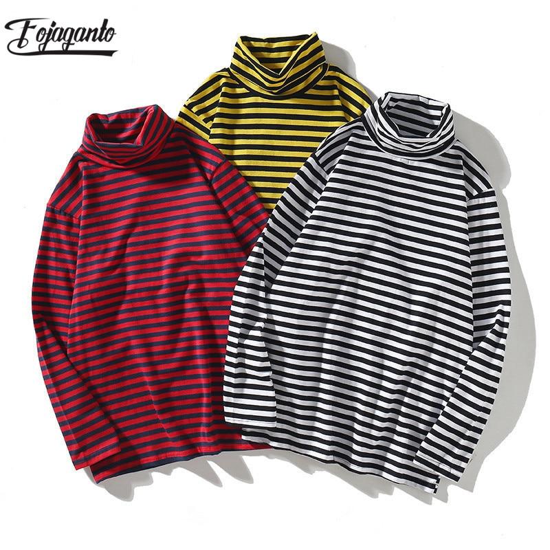 FOJAGANTO Quality Brand Men Stripe T-shirt New Men's Long Sleeve Harajuku T Shirt Male Casual Turtleneck Cotton T-shirts Tops