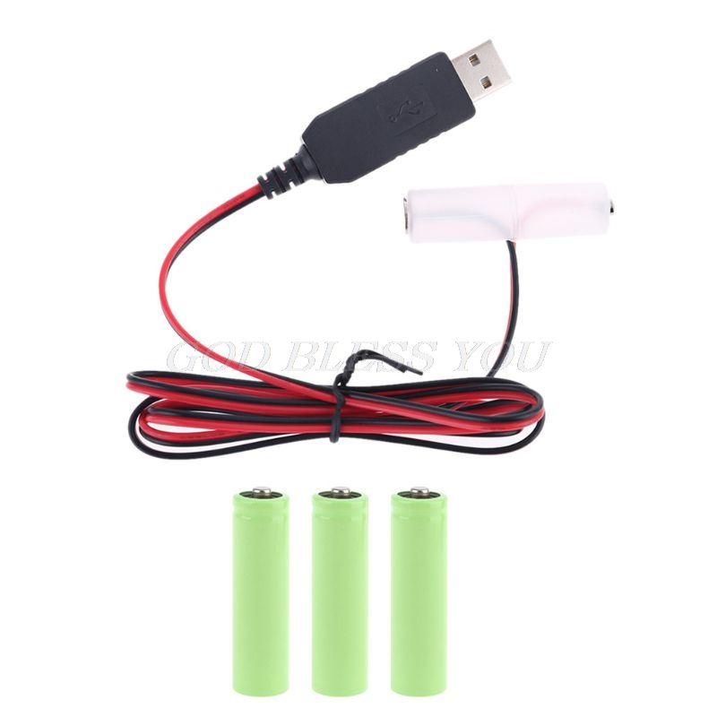 LR6 AA Battery Eliminator USB Power Supply Cable Replace 1-4pcs 1.5V AA Battery