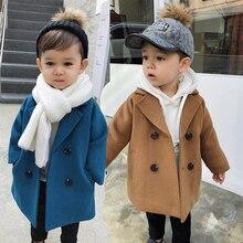 Новые зимние куртки Однотонное шерстяное двубортное шерстяное пальто для мальчиков модная детская верхняя одежда с отворотом, пальто для мальчиков, ветровка для детей возрастом от 1 года до 5 лет