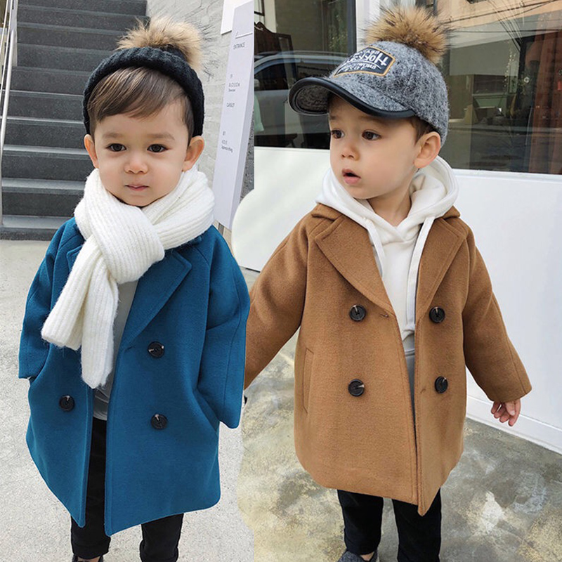 New Winter Jackets Boys Solid Woolen Double-breasted Boys Wool Coat Fashion Lapel Kids Outerwear Coats For Boy Windbreaker 1-5 Y