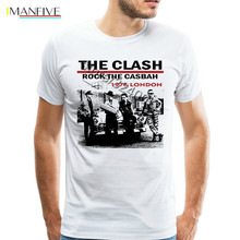 Vintage UK PUNK Band Rock The Clash T Shirts Young Men 1976 London Tee Fashion T-Shirts Party Large and Tall Clothing Tshirt недорого