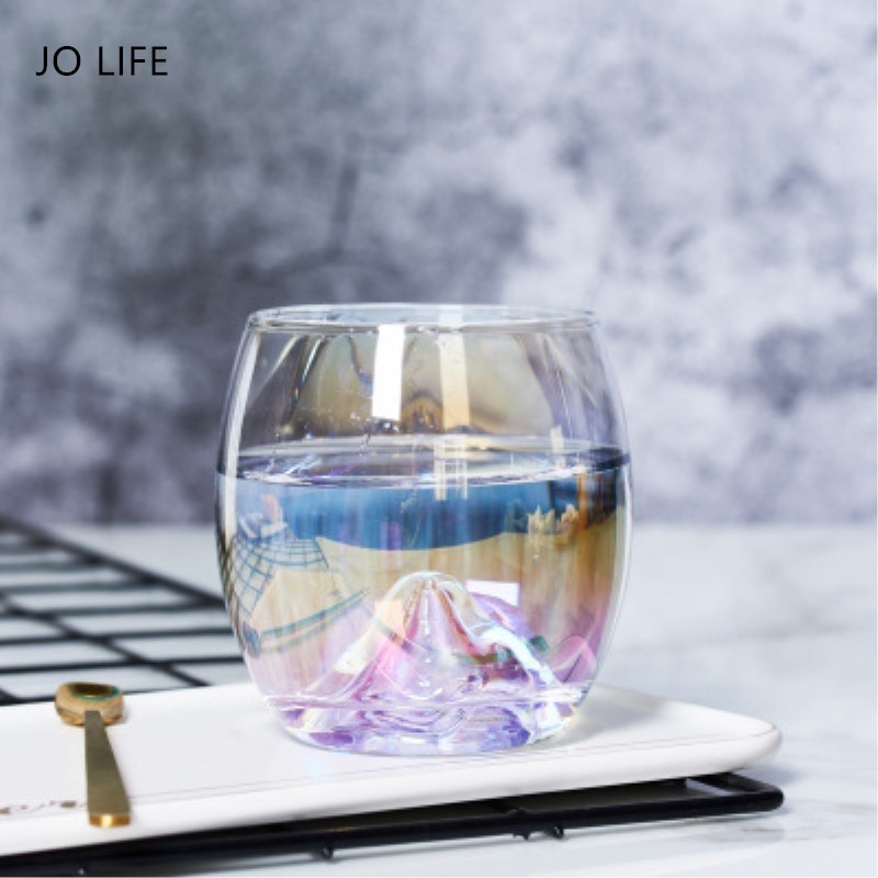 JO LIFE Rainbow Glass Crystal Coffee Mug Magic Color Tea Beer Creative Teardrop Whisky Wine Cup