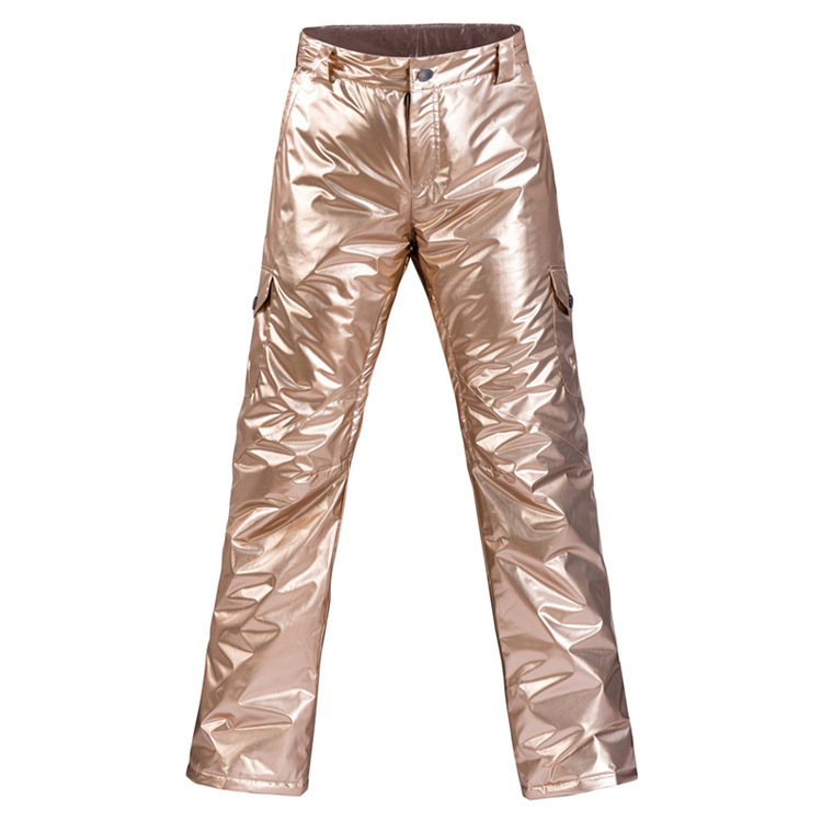 2019 Silver Golden Skiing Pants Woman Winter Outdoors Waterproof Thickening Cold And Warm Veneer Beginner Ski Snow Trousers
