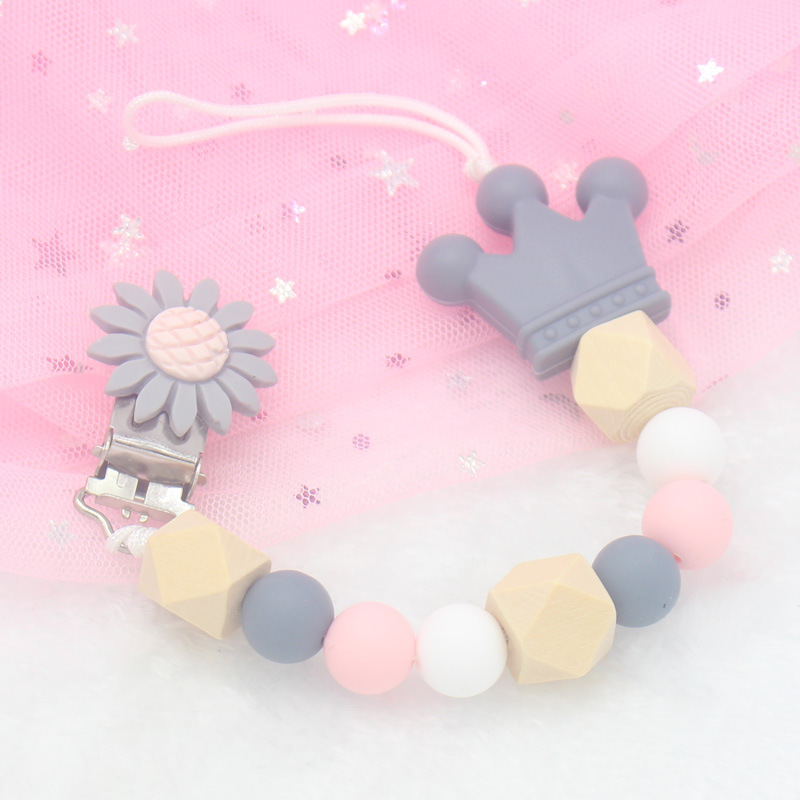 1 Pcs Baby Products Pacifier Clip Silicone Beads Metal Holder Infant Feeding Teething Chew Toys Dummy Clips For Baby Wholesale