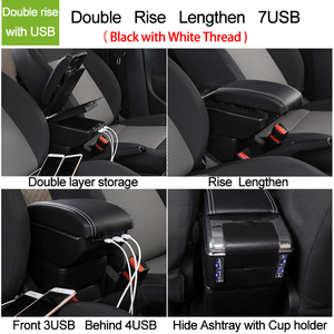 Image 3 - for Renault Captur 2 2018 armrest box central Store content box with cup holder ashtray Can rise with USB accessory