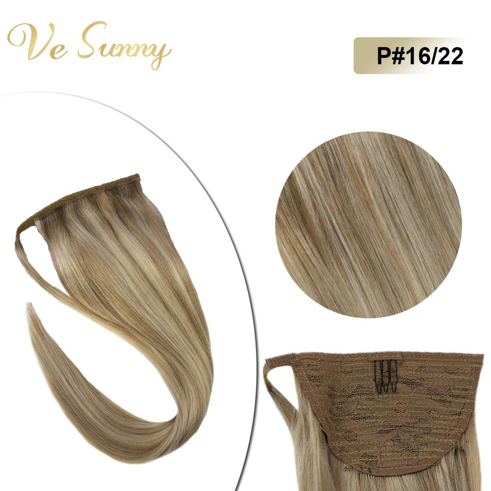 VeSunny Ponytail Extensions Wrap Around Magic Tape 100% Human Hair Highlights Dark Ash Mix Blonde #16/22