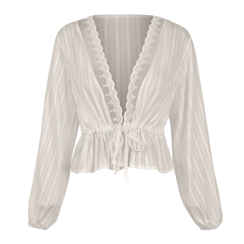 Fashion Womens Tops and Blouses Elegant Long Sleeve Lace Top V Neck OL Shirt Ladies Dames Party Club tunique femme Streetwear 1