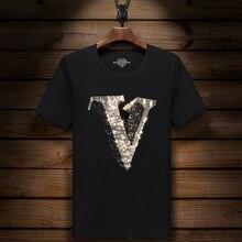 Мужская Блестящая футболка с логотипом V Hot Drilling, черная хлопковая футболка с коротким рукавом, стразы, Орел, топ, футболка, модная футболка с краном