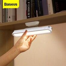 Baseus USB ışık manyetik masa lambası asılı kablosuz dokunmatik LED masa lambası kademesiz karartma çalışma okuma lambası USB gece aydınlatma