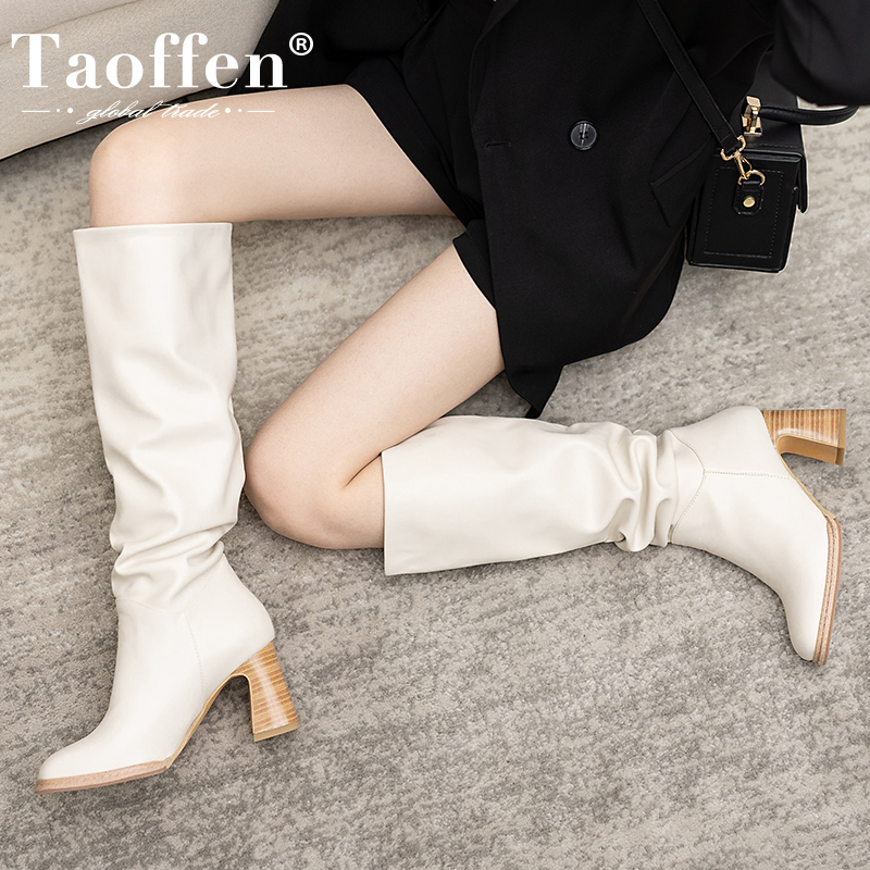 Taoffen Size 34 43 2021 INS Women Knee High Heel Boots Lady Riding Botas Warm Winter Shoes Women Sexy Square Toe Casual Footwear