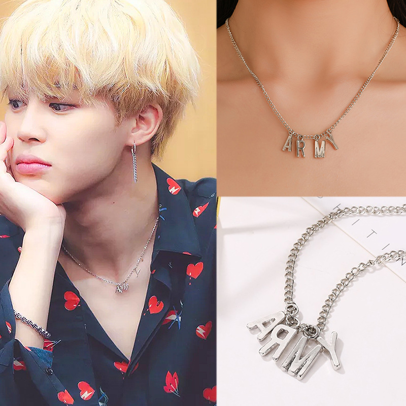 Korean plate fashion simple personality male and female letters army clavicle chain(China)