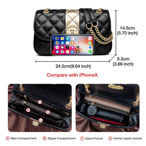 Image 5 - FOXER Women Chain Strap Messenger Bag Diamond Lattice Flap Lady High Quality Leather Ladies Shoulder Bags Valentines Day Gift