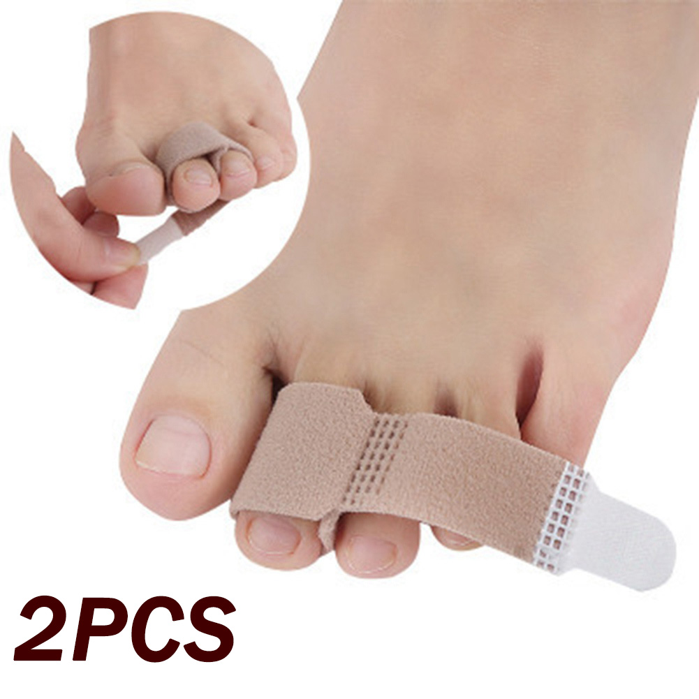 2 Pcs/lot Fabric Toe Finger Straightener Hammer Toe Hallux Valgus Corrector Bandage Toe Separator Splint Wraps Foot Care NEW